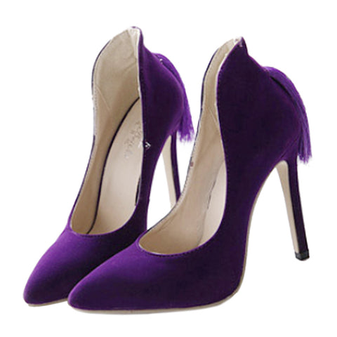 Back Heel Tassel Pointed Thin High Heel Low-cut Wedding Shoes  purple  35 - Mega Save Wholesale & Retail