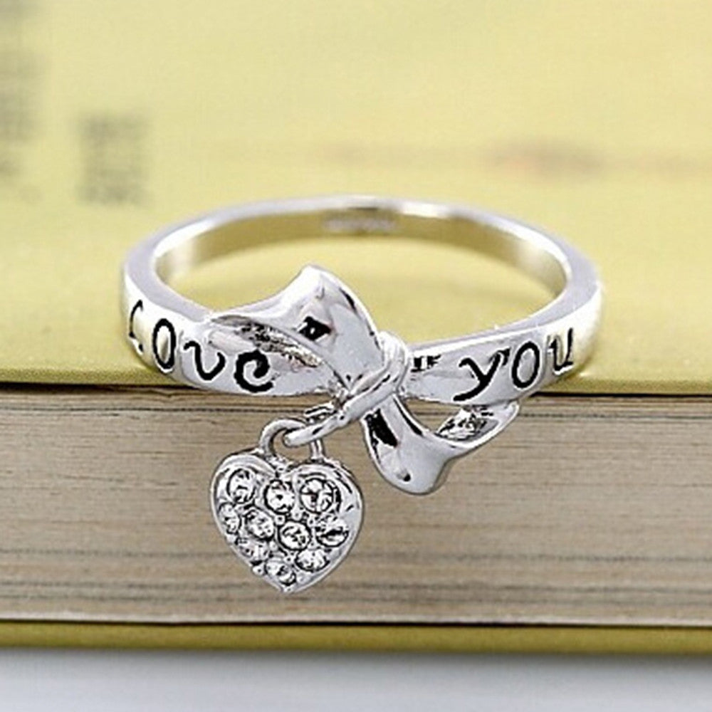 Love Heart Letter Ring 18K Gold Plated   platinum plated white zircon 9# - Mega Save Wholesale & Retail
