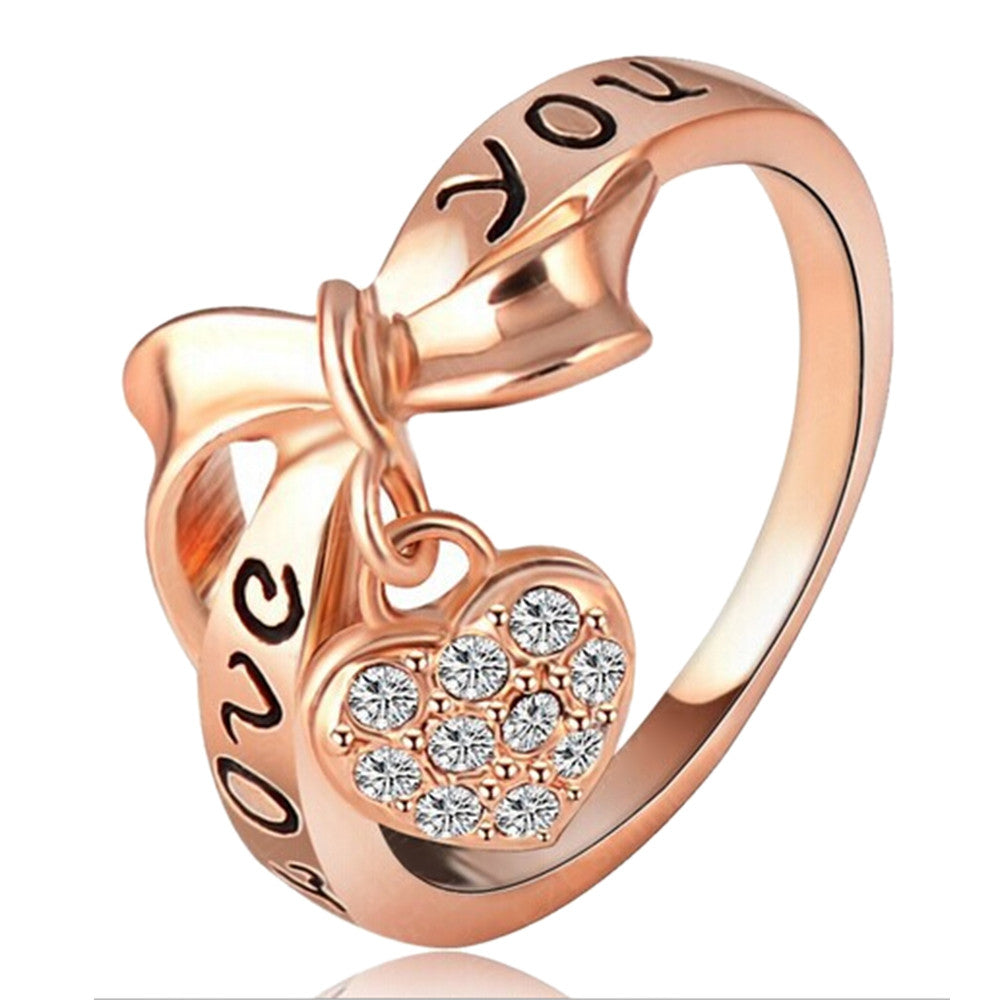 Love Heart Letter Ring 18K Gold Plated    gold plated white zircon 7.75# - Mega Save Wholesale & Retail