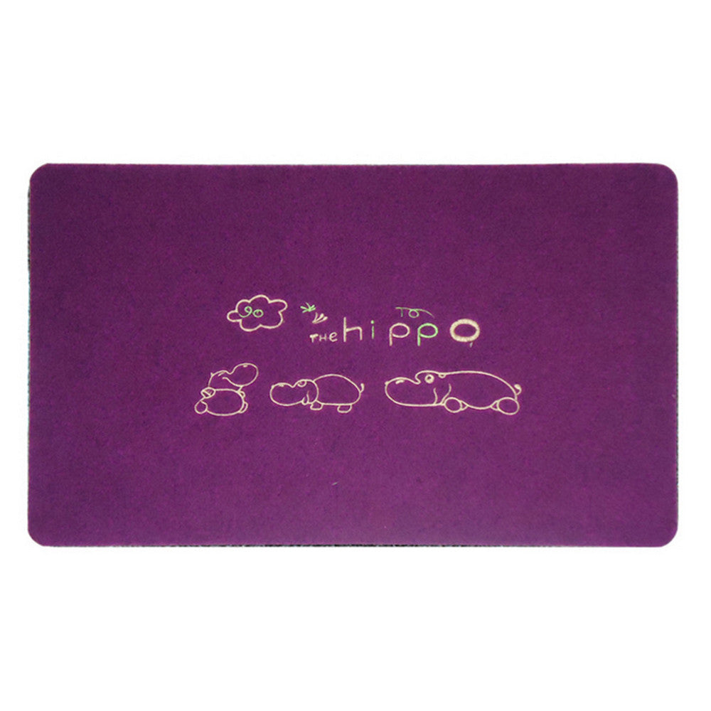 Embroidery Clover Foot Ground Floor Door Mat Carpet purple hippos - Mega Save Wholesale & Retail - 1
