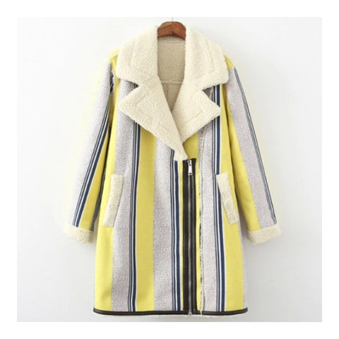 Suede Fake Lamb Wool Casual Lapel Coat   yellow stripe  S - Mega Save Wholesale & Retail - 1