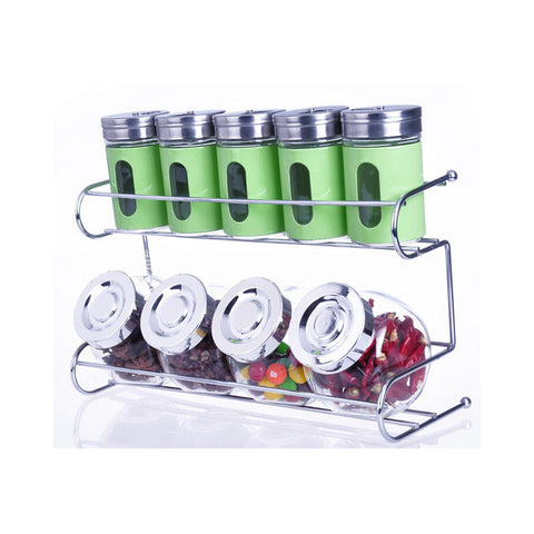 9 Canister Metal & Glass Spice Shakers Glass Jars 2 Tier Wire Rack Display   green - Mega Save Wholesale & Retail - 1