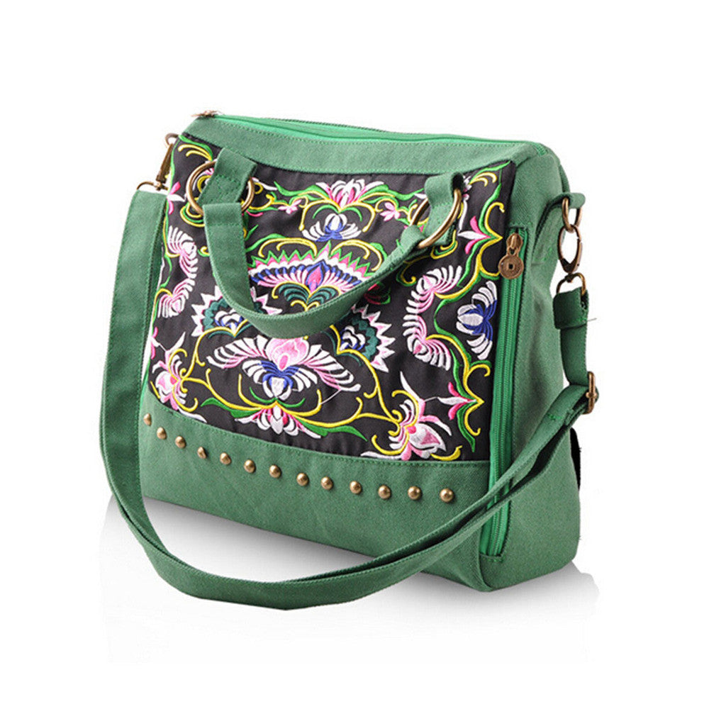 New National Style Embroidery Woman's Single-shoulder Bag Handbag Chinese Style Messenger Bag   green - Mega Save Wholesale & Retail - 1