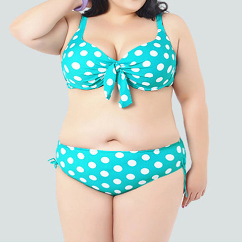 2pcs Fat Large Wave Point Swimwear Swimsuit   green - Mega Save Wholesale & Retail