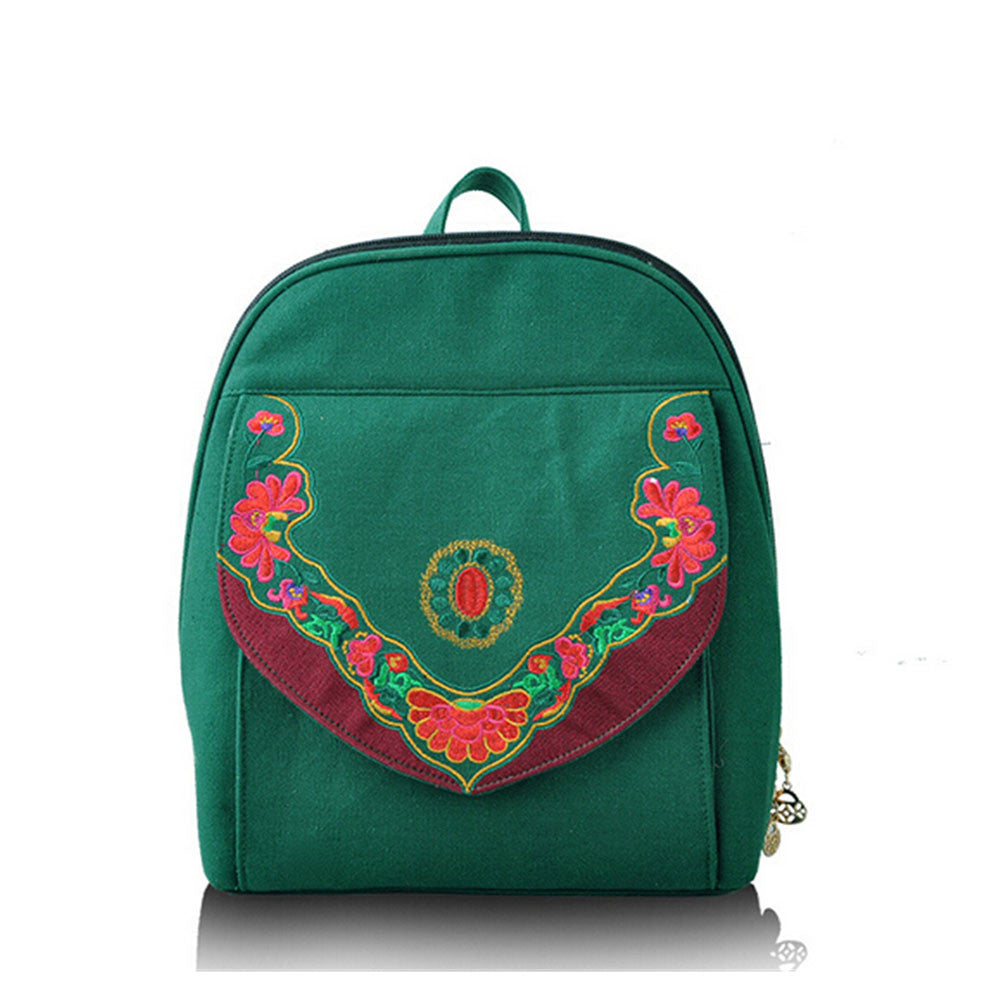 New Yunnan Fashionable National Style Embroidery Bag Stylish Featured Shoulders Bag Fashionable Bag Woman's Bag    green - Mega Save Wholesale & Retail - 1