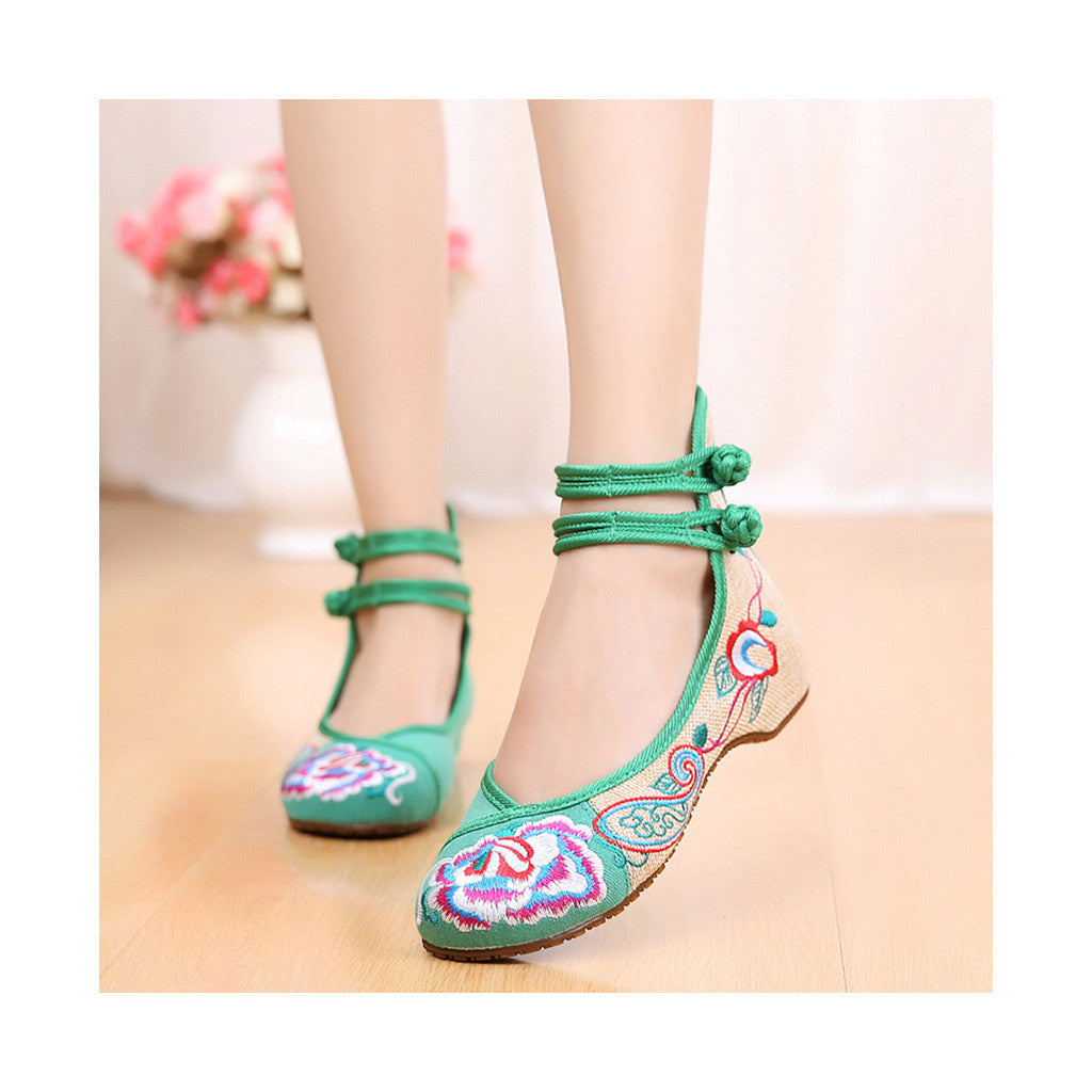 Old Beijing Cloth Shoes Assorted Colors Casual Tie Embroidered Shoes Slipsole Low Cut Increased within National Style Shoes green - Mega Save Wholesale & Retail - 1