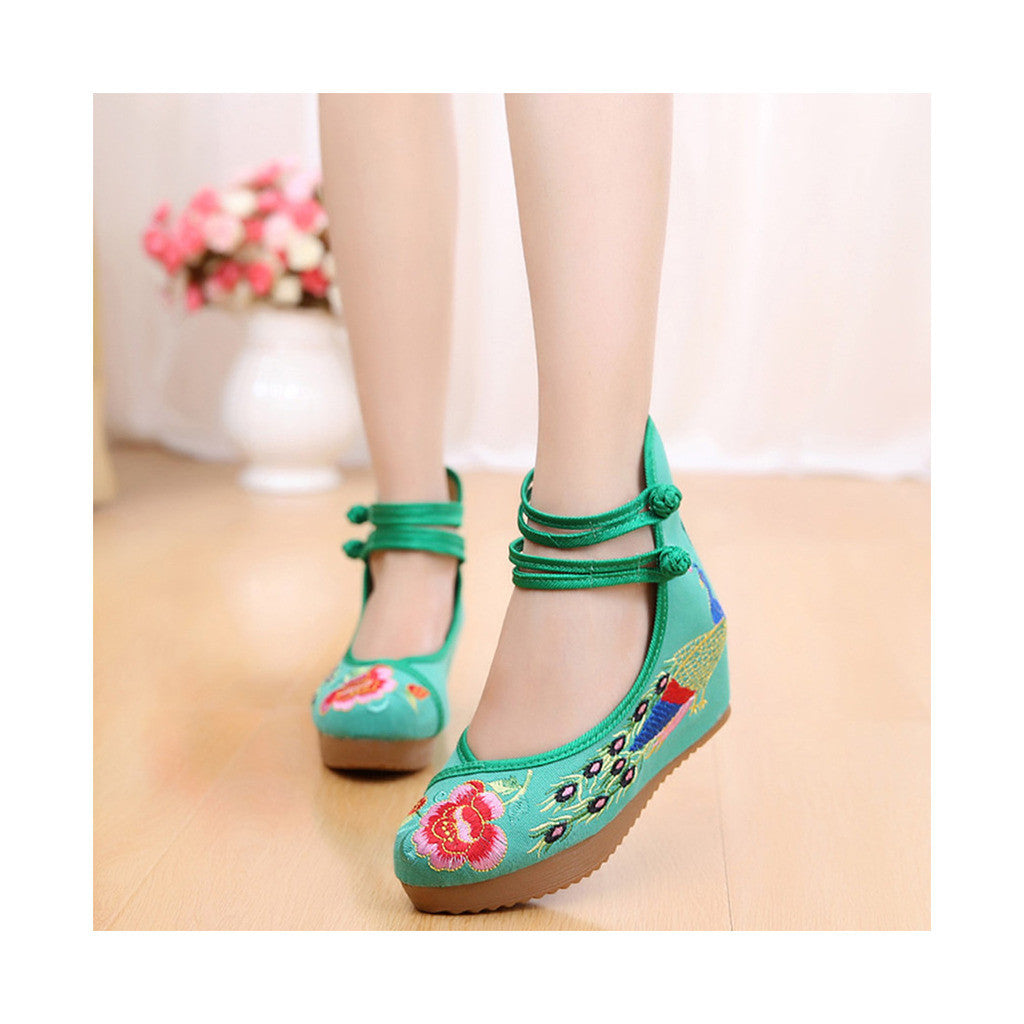 Old Beijing High Heeled Green Shoes in Traditional Chinese Embroidery with Slipsole & Ankle Straps - Mega Save Wholesale & Retail - 1