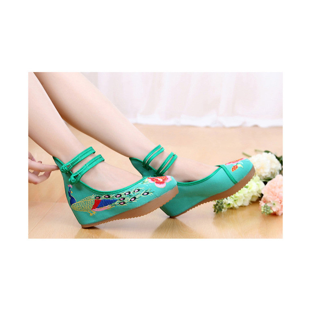 Old Beijing High Heeled Green Shoes in Traditional Chinese Embroidery with Slipsole & Ankle Straps - Mega Save Wholesale & Retail - 2