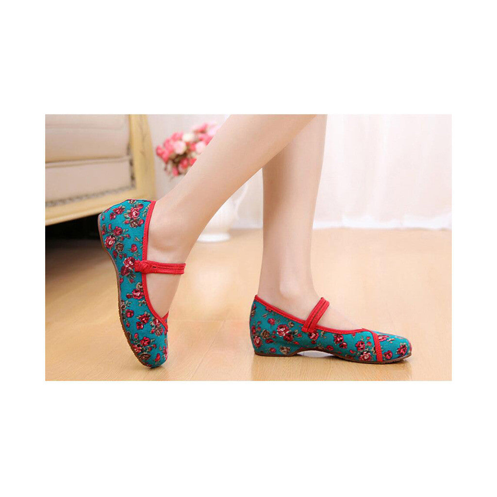 Old Beijing Cloth Shoes Slipsole Small Flower National Style Embroidered Shoes Dance Cloth Shoes Increased within Mom Woman Shoes green - Mega Save Wholesale & Retail - 2
