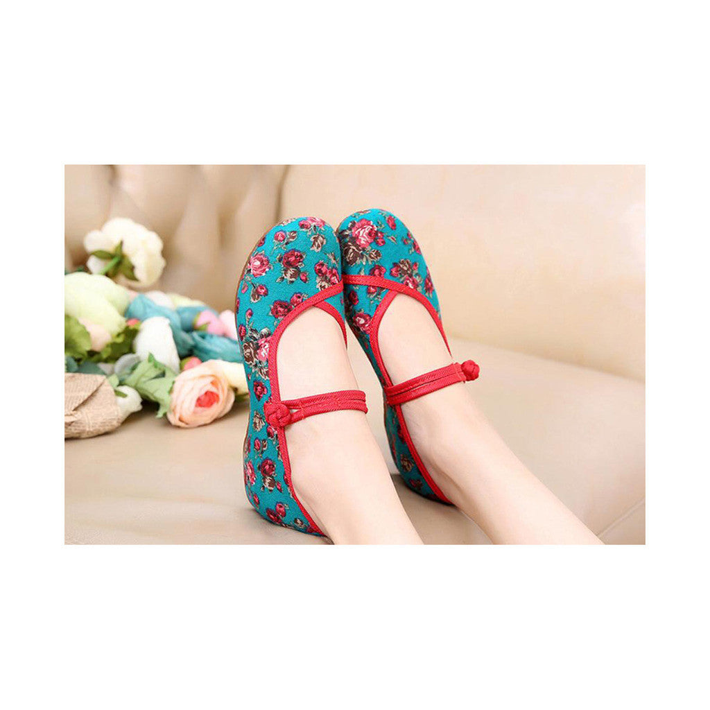Old Beijing Cloth Shoes Slipsole Small Flower National Style Embroidered Shoes Dance Cloth Shoes Increased within Mom Woman Shoes green - Mega Save Wholesale & Retail - 4