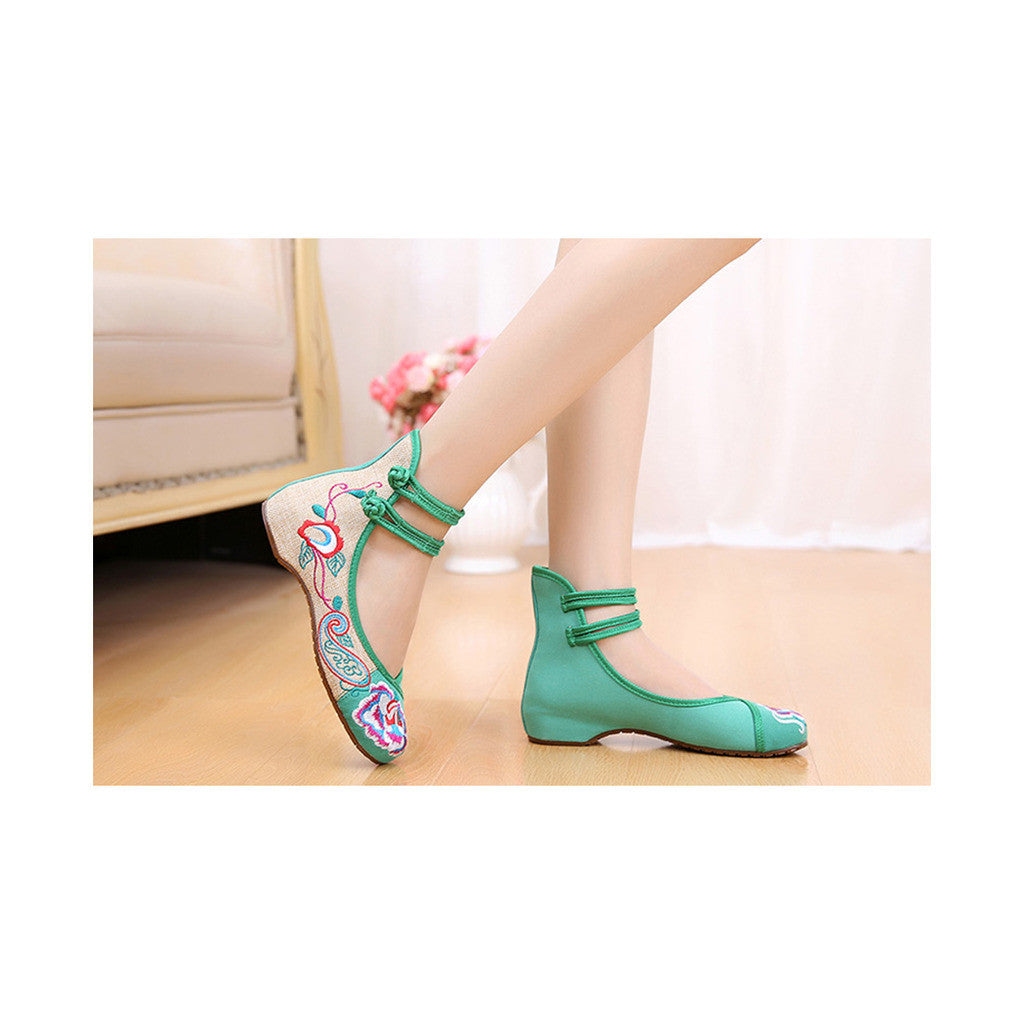 Old Beijing Cloth Shoes Assorted Colors Casual Tie Embroidered Shoes Slipsole Low Cut Increased within National Style Shoes green - Mega Save Wholesale & Retail - 3