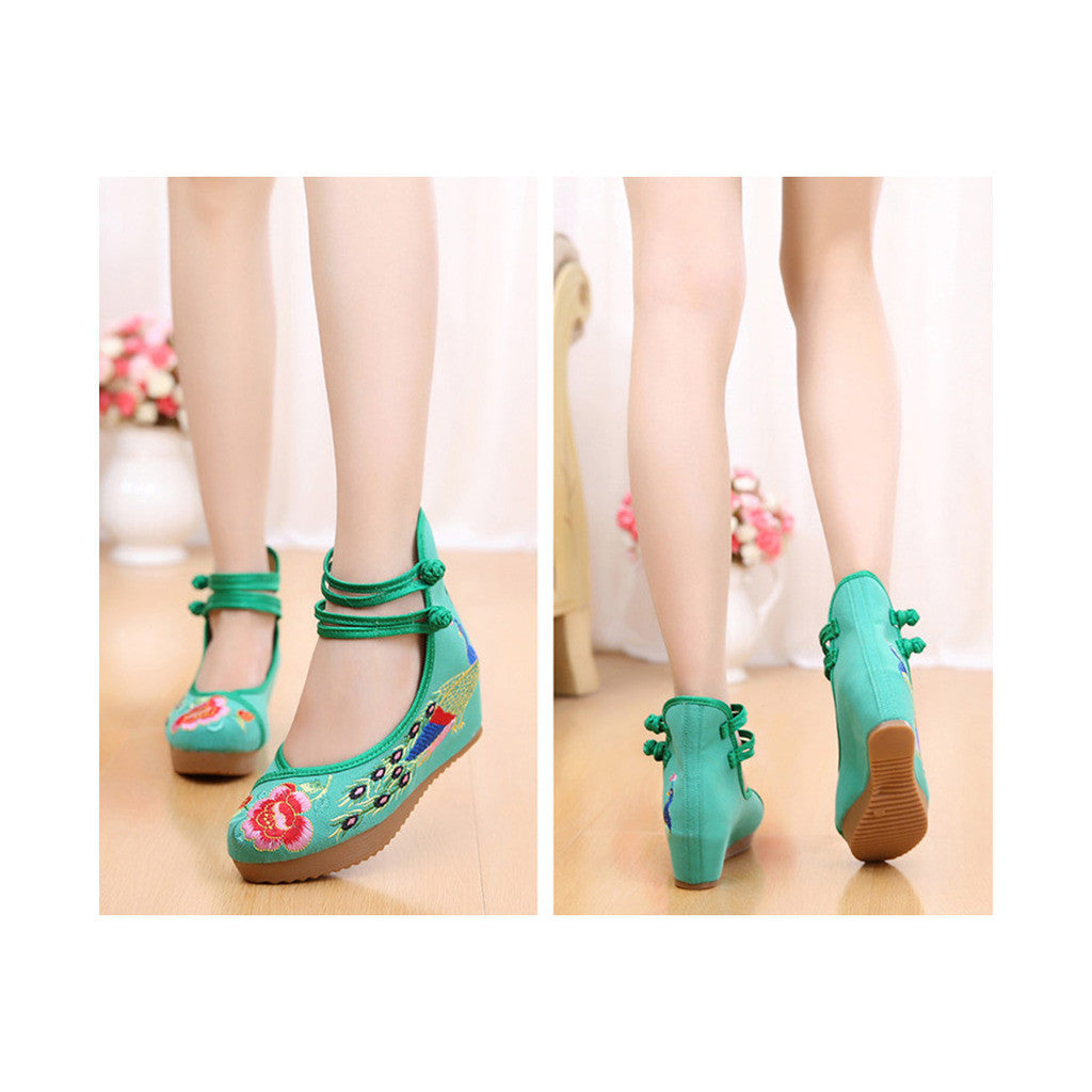Old Beijing High Heeled Green Shoes in Traditional Chinese Embroidery with Slipsole & Ankle Straps - Mega Save Wholesale & Retail - 4