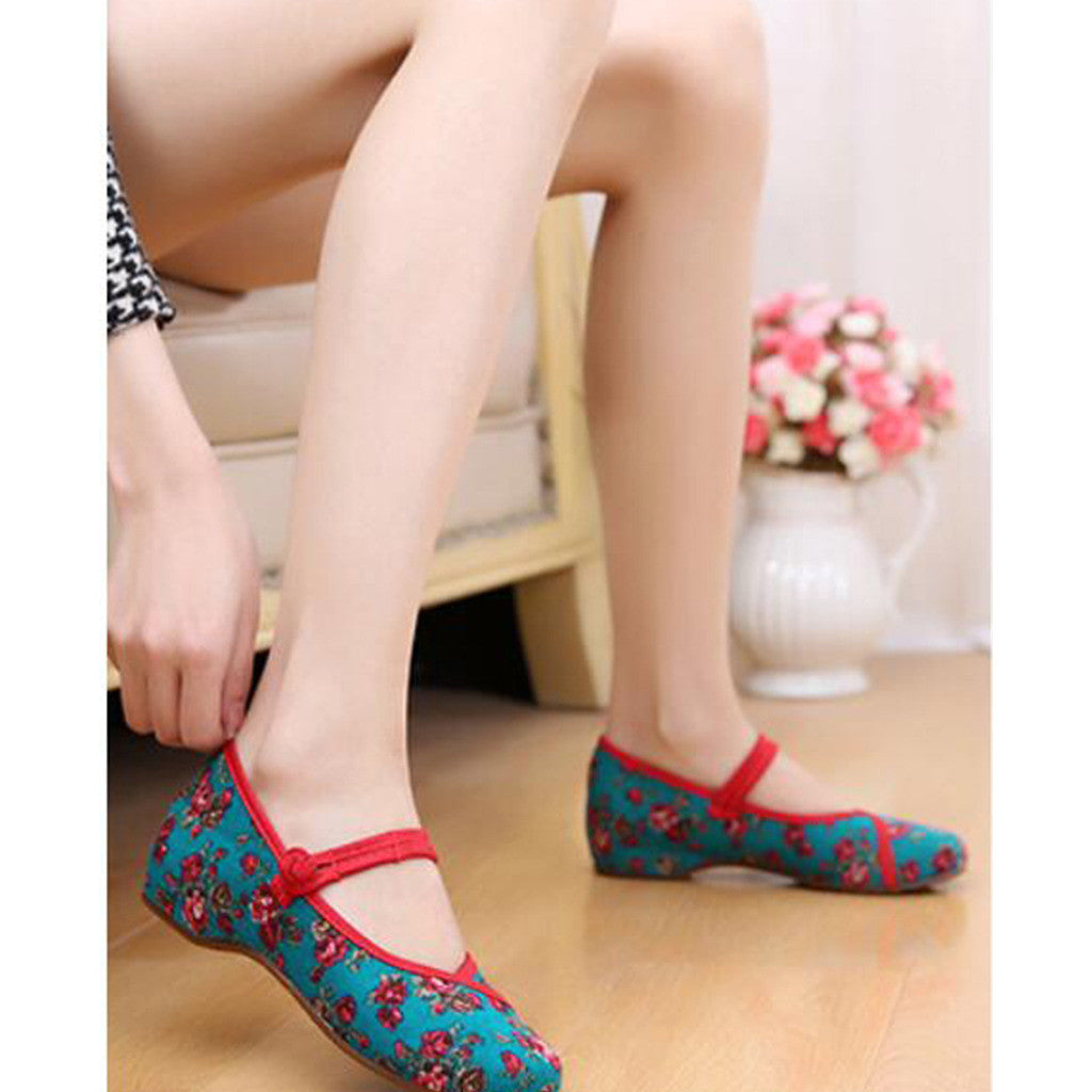 Old Beijing Cloth Shoes Slipsole Small Flower National Style Embroidered Shoes Dance Cloth Shoes Increased within Mom Woman Shoes green - Mega Save Wholesale & Retail - 3