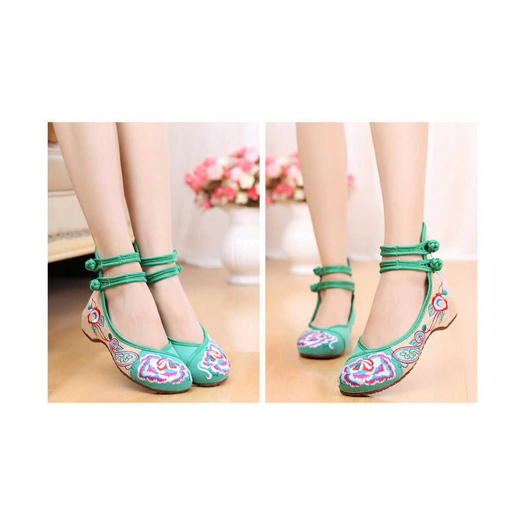 Old Beijing Cloth Shoes Assorted Colors Casual Tie Embroidered Shoes Slipsole Low Cut Increased within National Style Shoes green - Mega Save Wholesale & Retail - 4
