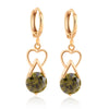Luxurious Heart Zircon Earrings    gold plated green zircon - Mega Save Wholesale & Retail