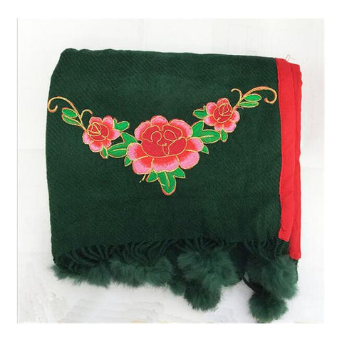 Spring Festival's Gift Literary Cashmere National Style Embroidery Scarf Cotton and Linen Autumn Winter New Embroidery Wrap Scarf  green - Mega Save Wholesale & Retail - 1