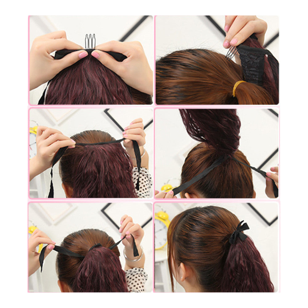 Gradient Ramp Horsetail Lace-up Curled Wig KBMW black to wine red - Mega Save Wholesale & Retail - 2