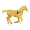 3D Silent Mirror Wall Clock Creative Chinese Style Horse    golden - Mega Save Wholesale & Retail
