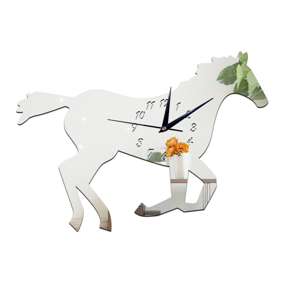 3D Silent Mirror Wall Clock Creative Chinese Style Horse   silver - Mega Save Wholesale & Retail