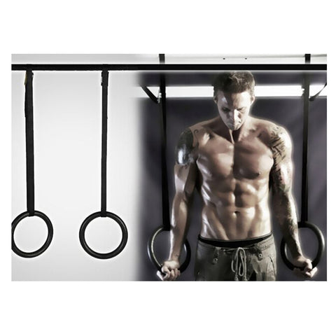 Fitness Training OLYMPIC Gymnastics Crossfit Rings with Suspension Straps Black - Mega Save Wholesale & Retail