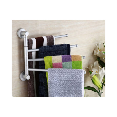 Bathroom Aluminum Firm Towel Rack Holder Rail Hanger with 4 Swivel Bars - Mega Save Wholesale & Retail