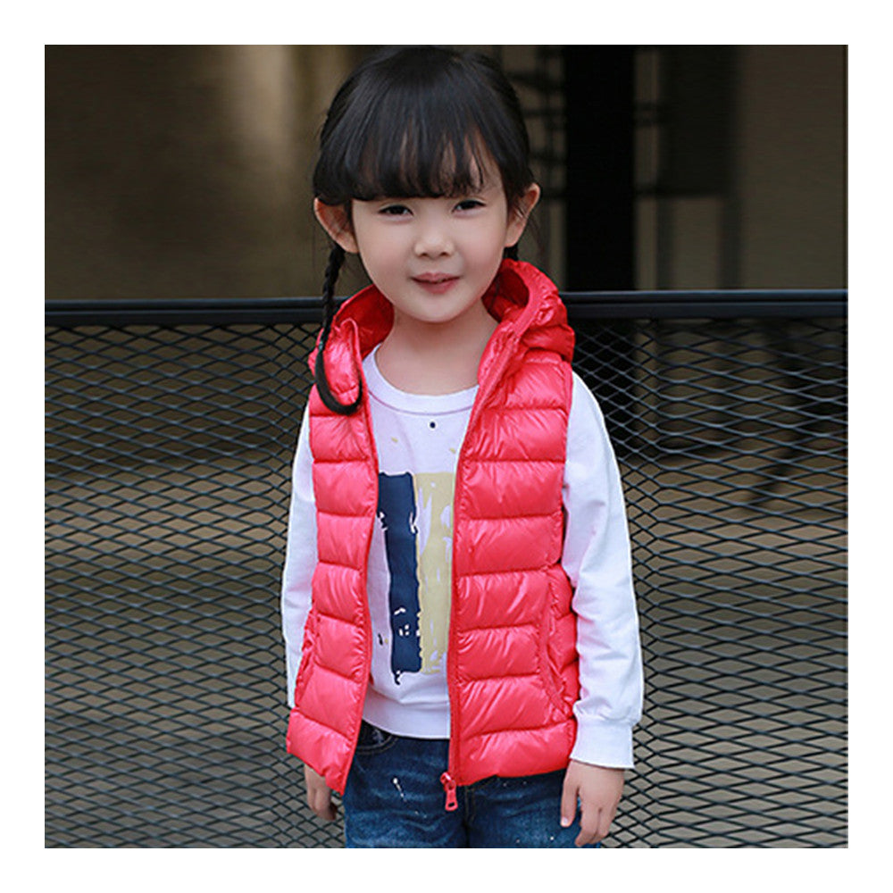 Child Thin Light Waistcoat Casual Warm Down Coat   red    110cm - Mega Save Wholesale & Retail - 1
