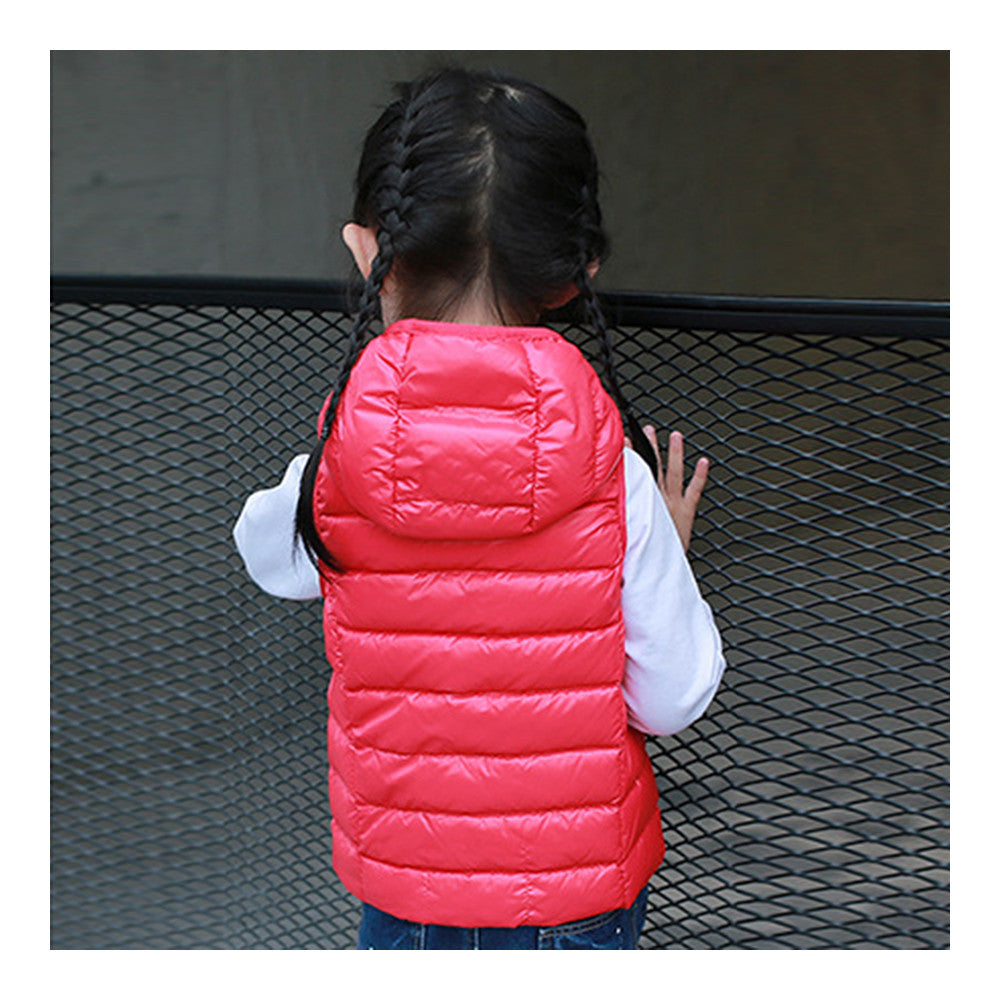 Child Thin Light Waistcoat Casual Warm Down Coat   red    110cm - Mega Save Wholesale & Retail - 2
