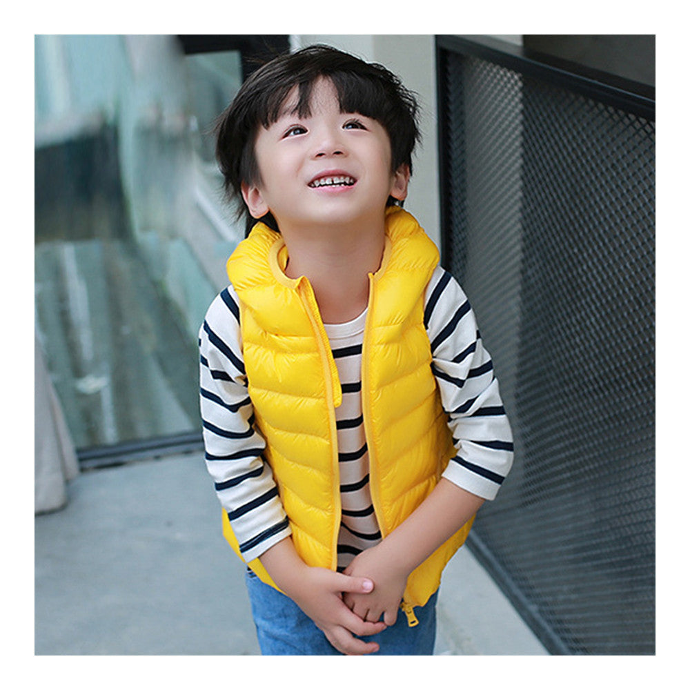 Child Thin Light Waistcoat Casual Warm Down Coat   yellow   110cm - Mega Save Wholesale & Retail - 1