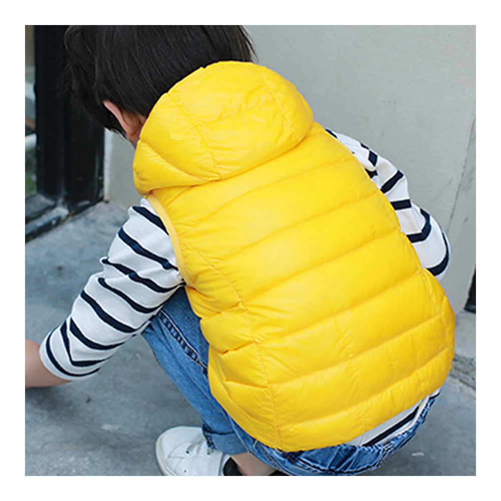 Child Thin Light Waistcoat Casual Warm Down Coat   yellow   110cm - Mega Save Wholesale & Retail - 2