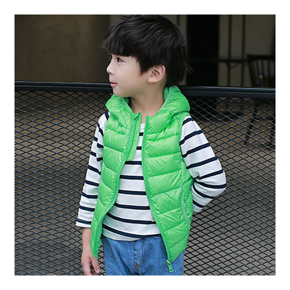 Child Thin Light Waistcoat Casual Warm Down Coat   green   110cm - Mega Save Wholesale & Retail - 1