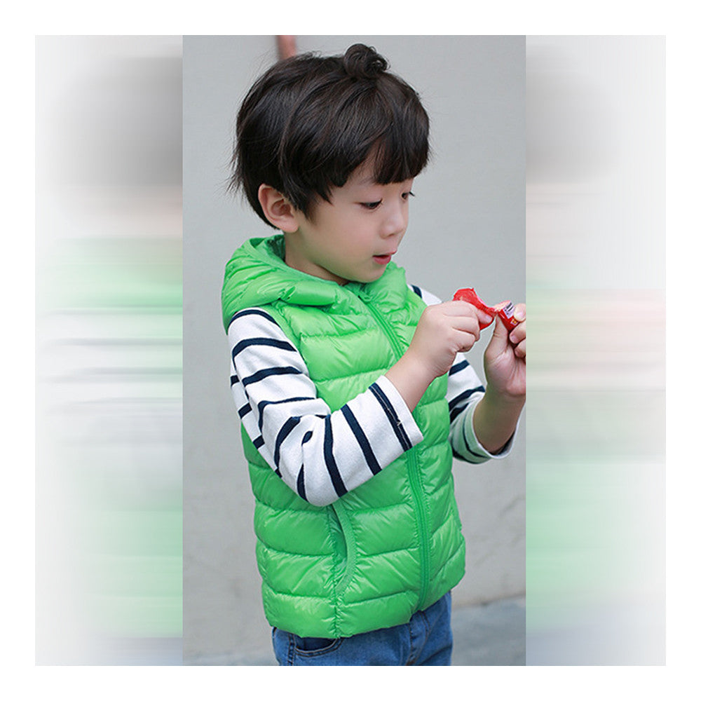 Child Thin Light Waistcoat Casual Warm Down Coat   green   110cm - Mega Save Wholesale & Retail - 2