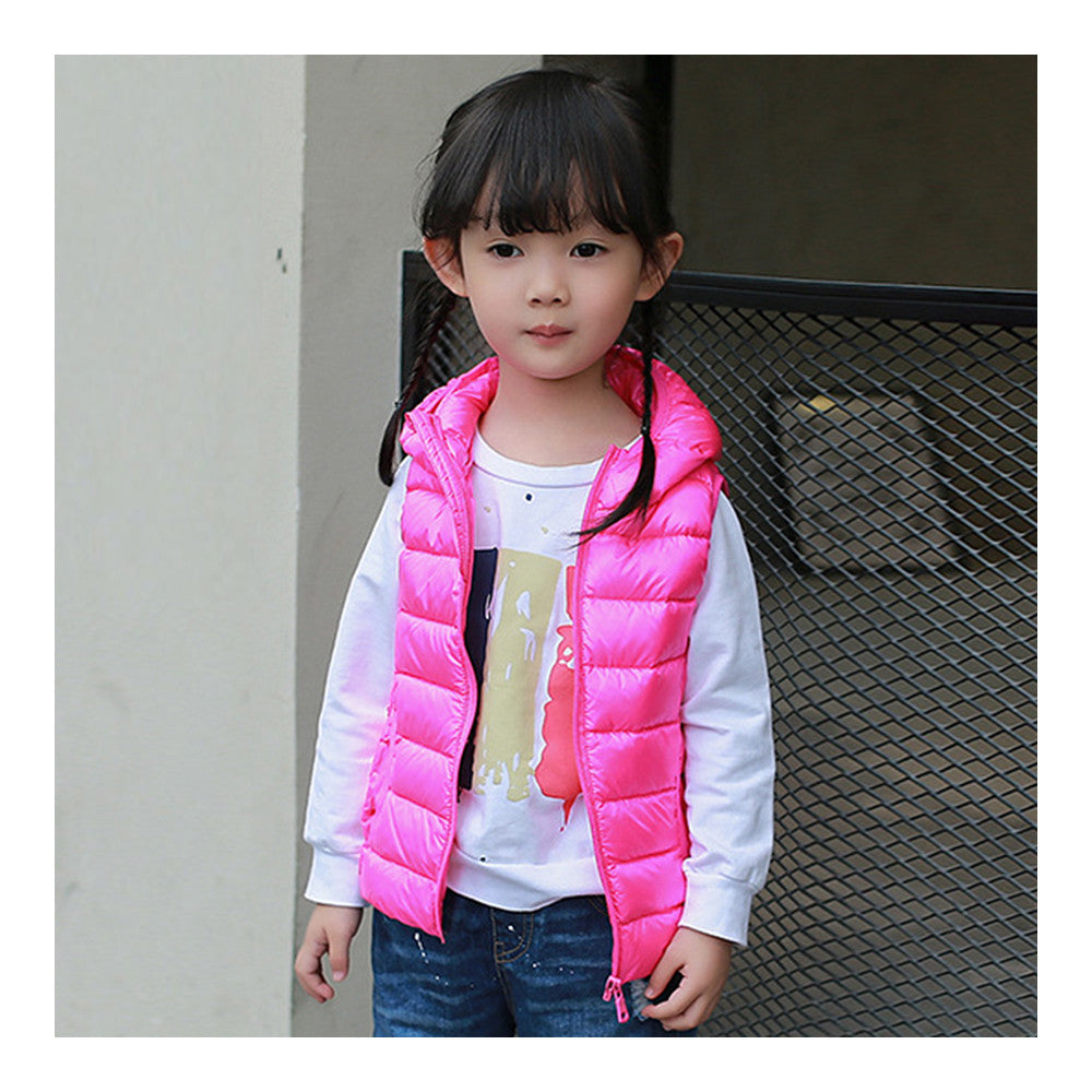 Child Thin Light Waistcoat Casual Warm Down Coat   rose red   110cm - Mega Save Wholesale & Retail - 1
