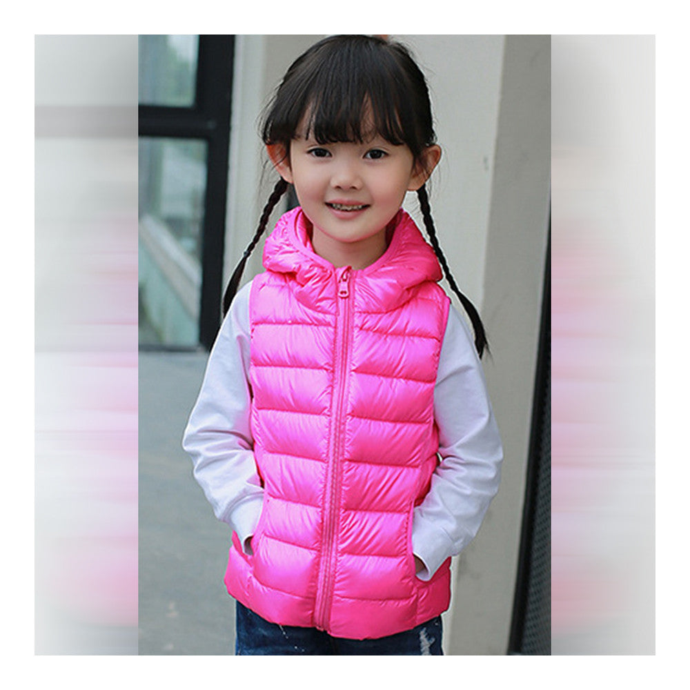 Child Thin Light Waistcoat Casual Warm Down Coat   rose red   110cm - Mega Save Wholesale & Retail - 2