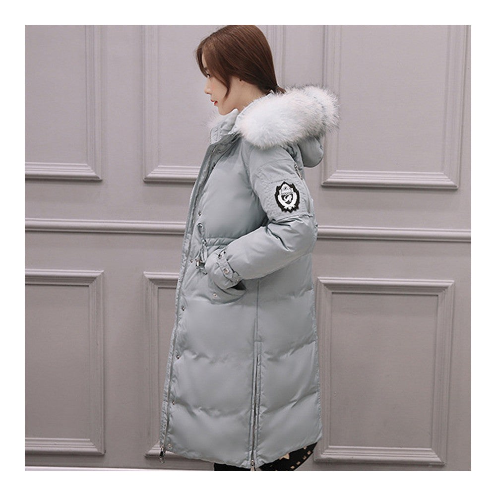 Down Coat Woman Middle Long Thick Fur Collar Slim Winter   light blue   S - Mega Save Wholesale & Retail - 1