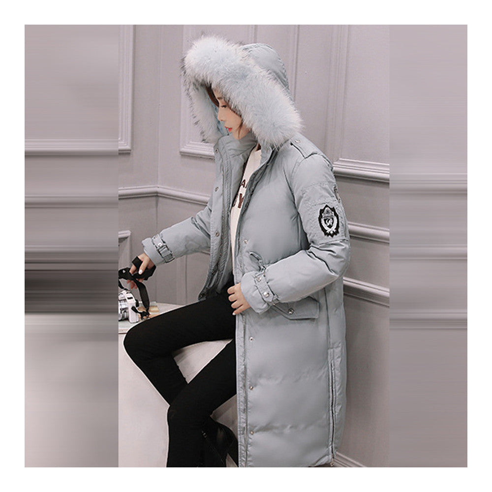 Down Coat Woman Middle Long Thick Fur Collar Slim Winter   light blue   S - Mega Save Wholesale & Retail - 2