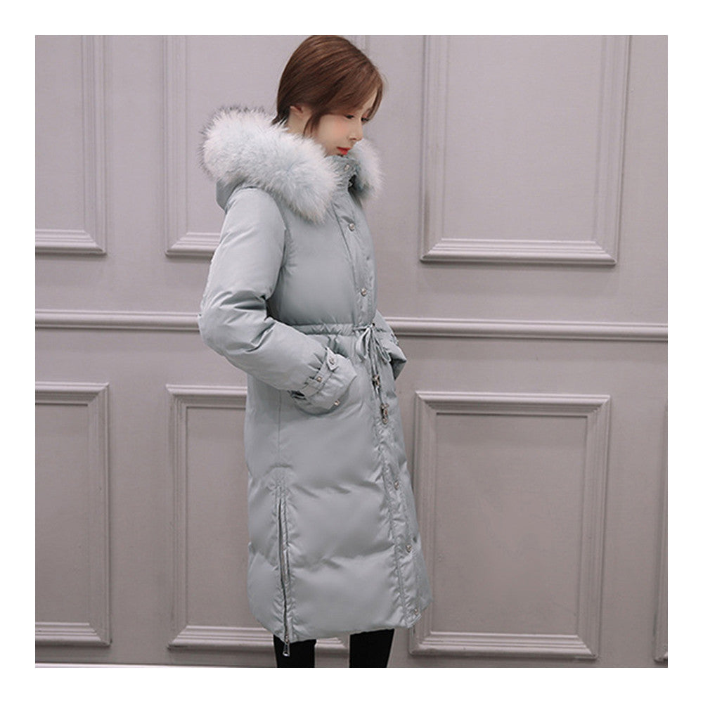 Down Coat Woman Middle Long Thick Fur Collar Slim Winter   light blue   S - Mega Save Wholesale & Retail - 3