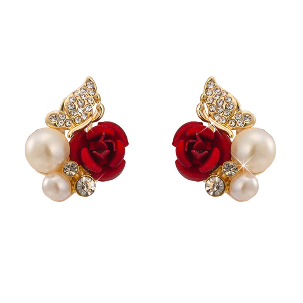 Rose Butterfly Fake Pearl Ear Studs - Mega Save Wholesale & Retail