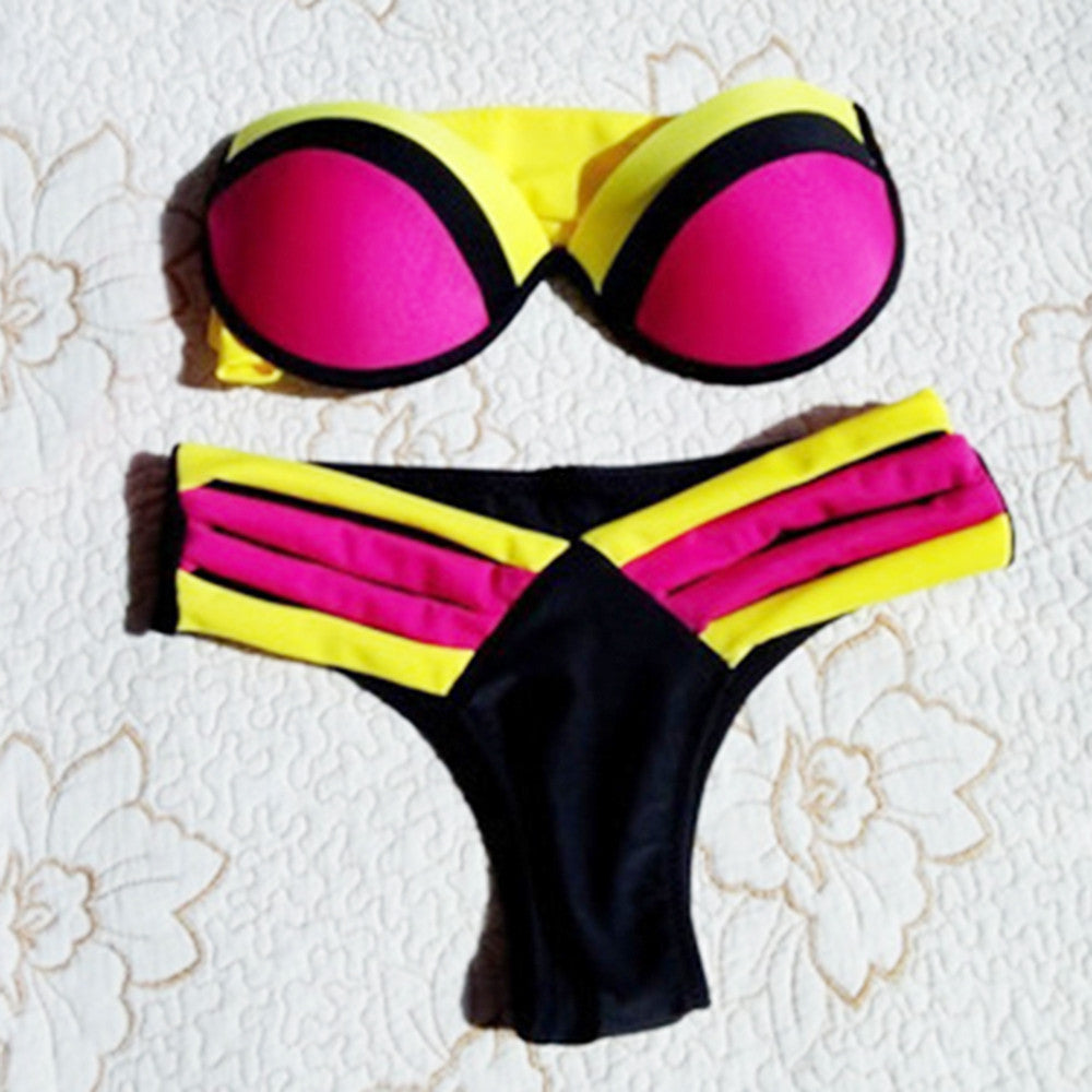Assorted Color Sexy Bikini Swimwear Swimsuit Bathing Suit Splicing  red - Mega Save Wholesale & Retail - 1