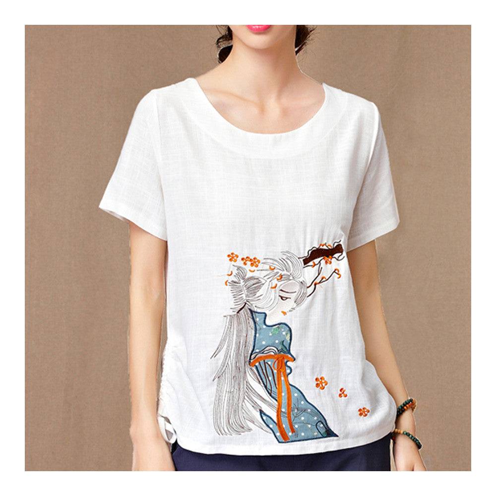Fresh T-shirt Loose Embroidery Flax   white   M - Mega Save Wholesale & Retail