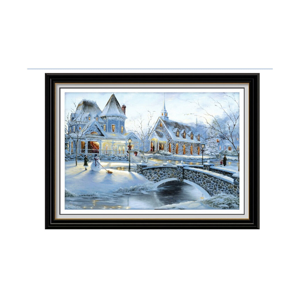 5D Diamond Painting Magic Cube Diamond Cross Stitch Living Room Bedroom Diamond Paste Snowy Sky Snowy Landscape Moscow Town European Snow Clad in Silvery White - Mega Save Wholesale & Retail