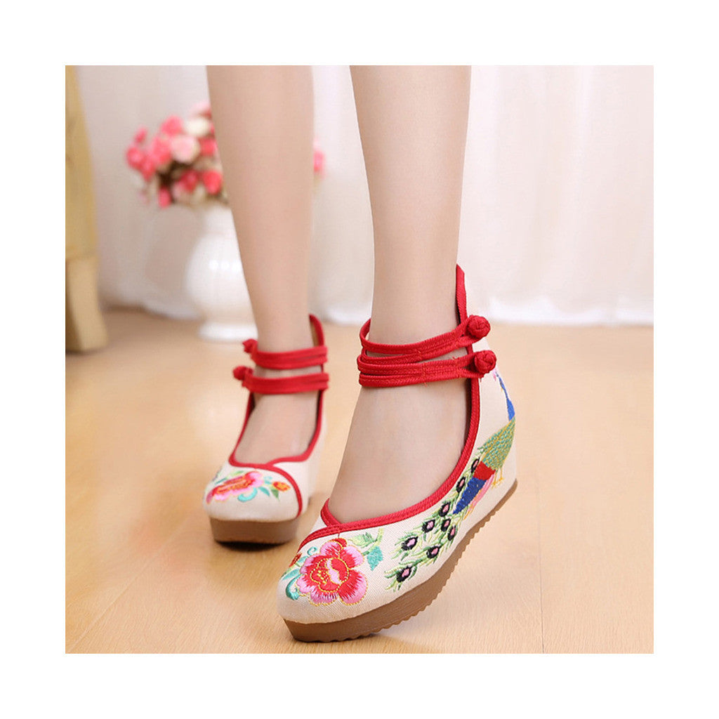 Old Beijing Cloth Shoes Embroidered Shoes High Heeled Shoes Woman National Style Slipsole Increased within  beige - Mega Save Wholesale & Retail - 1