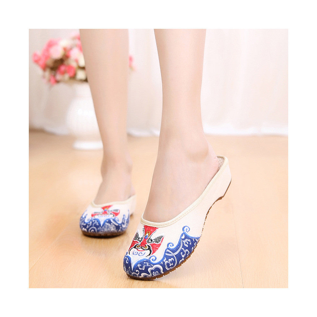 Old Beijing Chinese Embroidered Shoes in National Slipsole Style Beige Shade & Low Cut Fashion - Mega Save Wholesale & Retail - 2