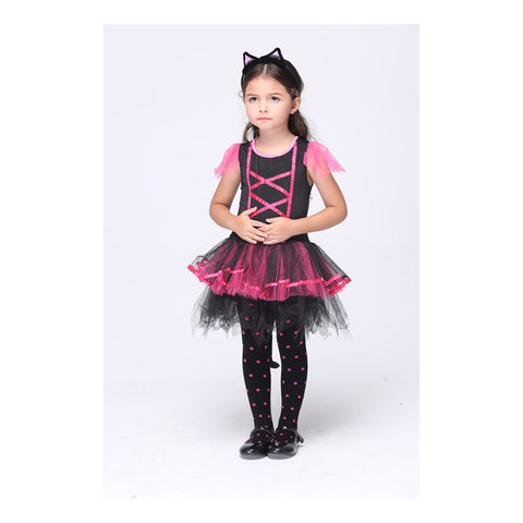 Children Costume Girl Cat Skirt Suit Cosplay Dancing Dress Kid Garment - Mega Save Wholesale & Retail