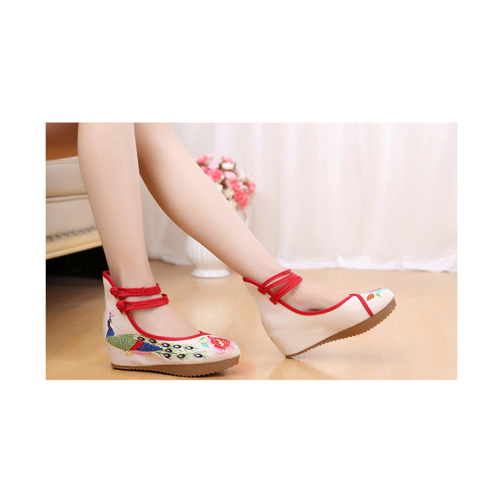 Old Beijing Cloth Shoes Embroidered Shoes High Heeled Shoes Woman National Style Slipsole Increased within  beige - Mega Save Wholesale & Retail - 2