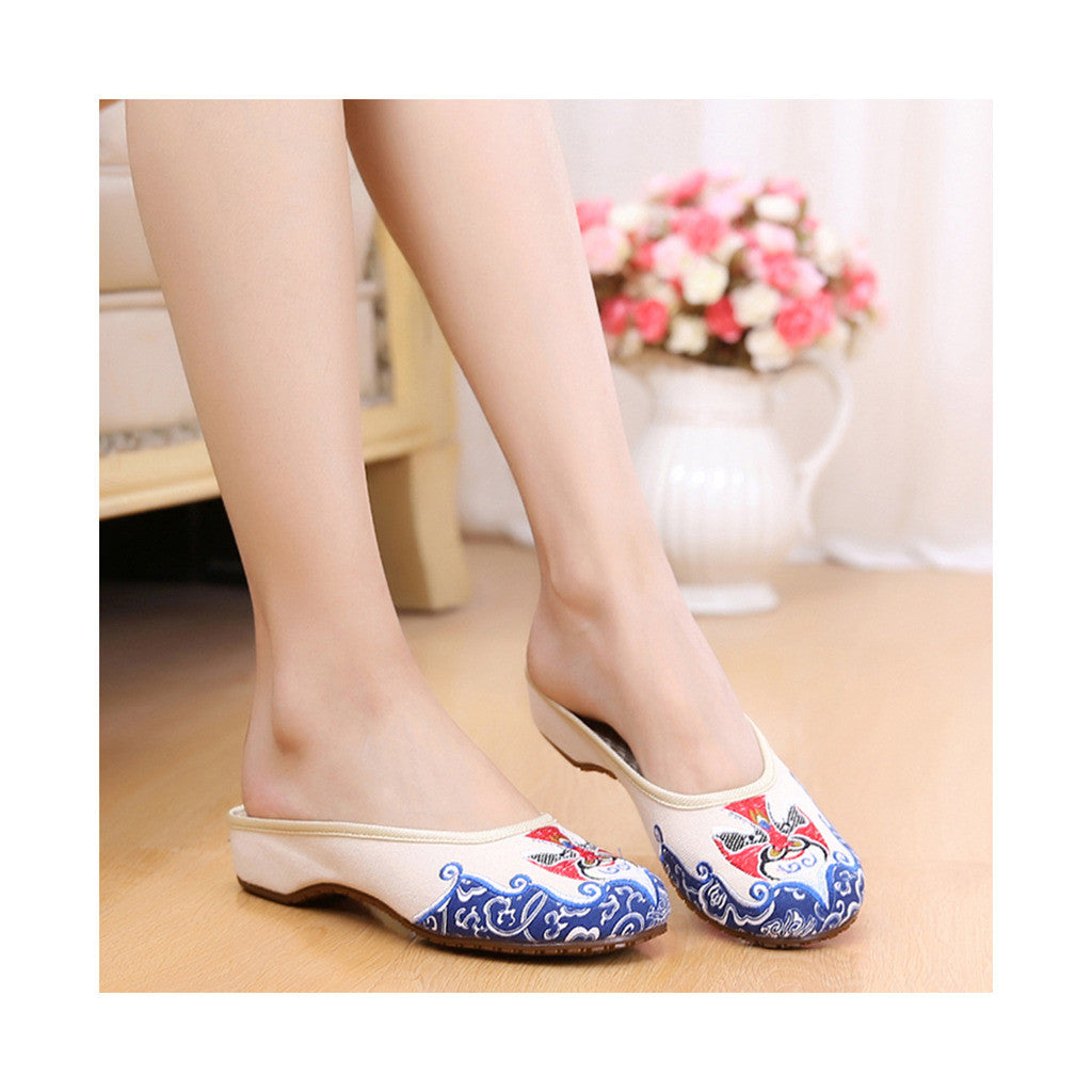 Old Beijing Chinese Embroidered Shoes in National Slipsole Style Beige Shade & Low Cut Fashion - Mega Save Wholesale & Retail - 1