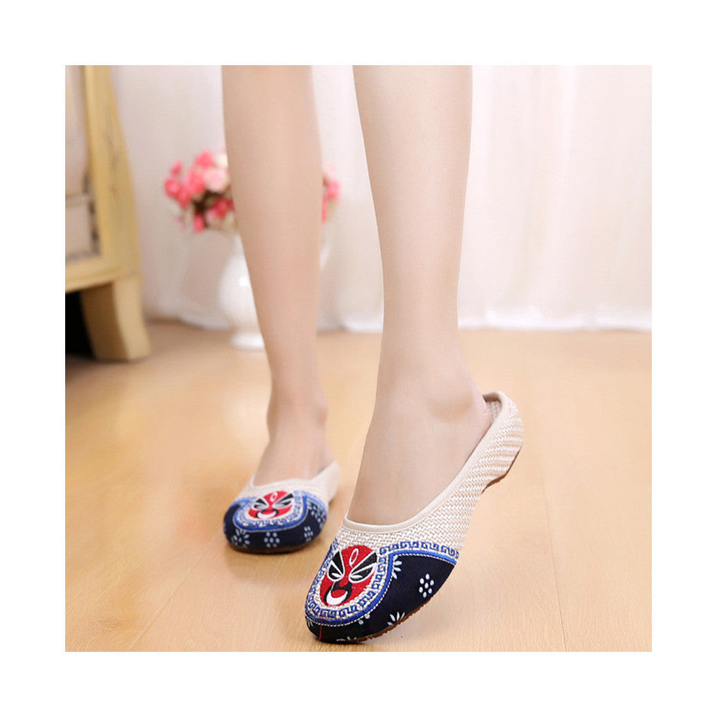 Old Beijing Cloth Shoes Flax Facial Makeup Slippers Embroidered Shoes Sandals Cowhell Sole Small Slipsole Woman Shoes National Style beige - Mega Save Wholesale & Retail - 2