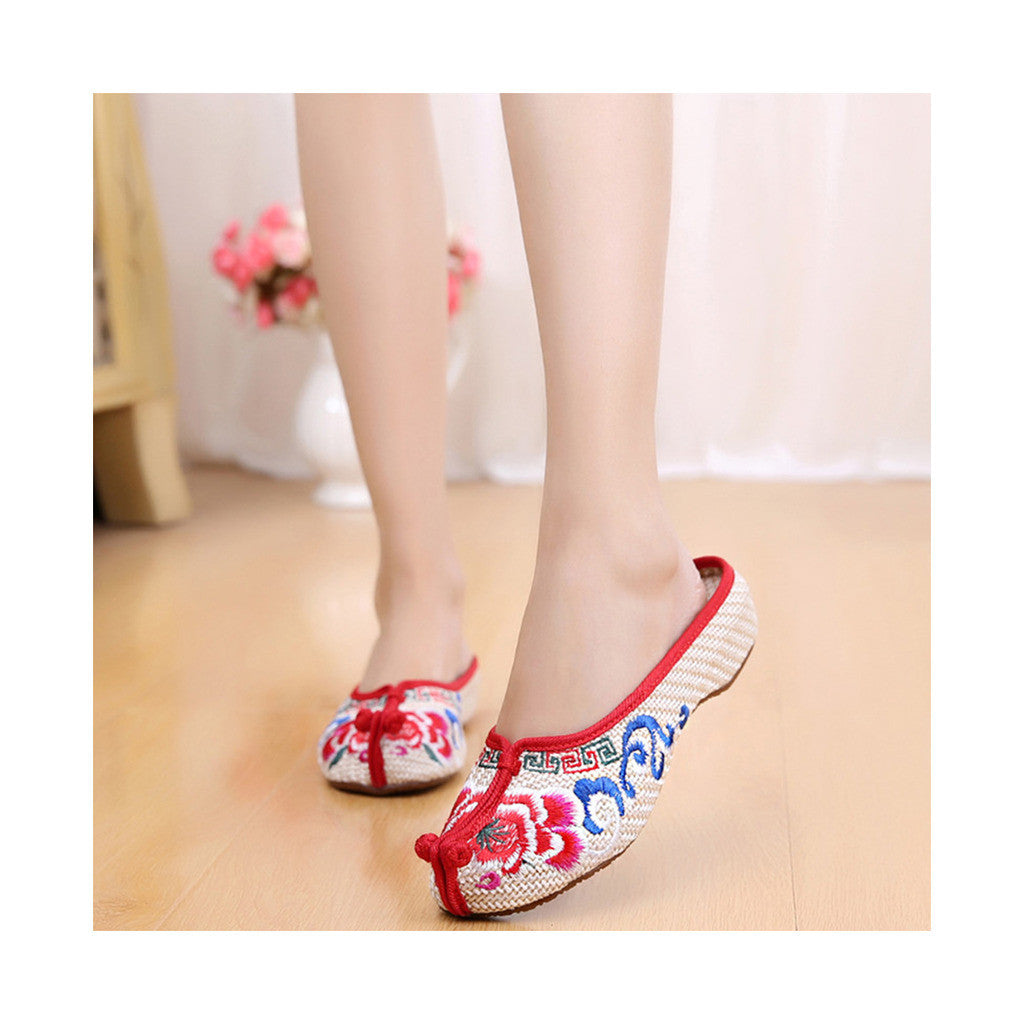 Beijing Cloth Vintage Embroidered Beige Home Slippers for Woman Online in National Style with Colorful Patterns - Mega Save Wholesale & Retail - 2