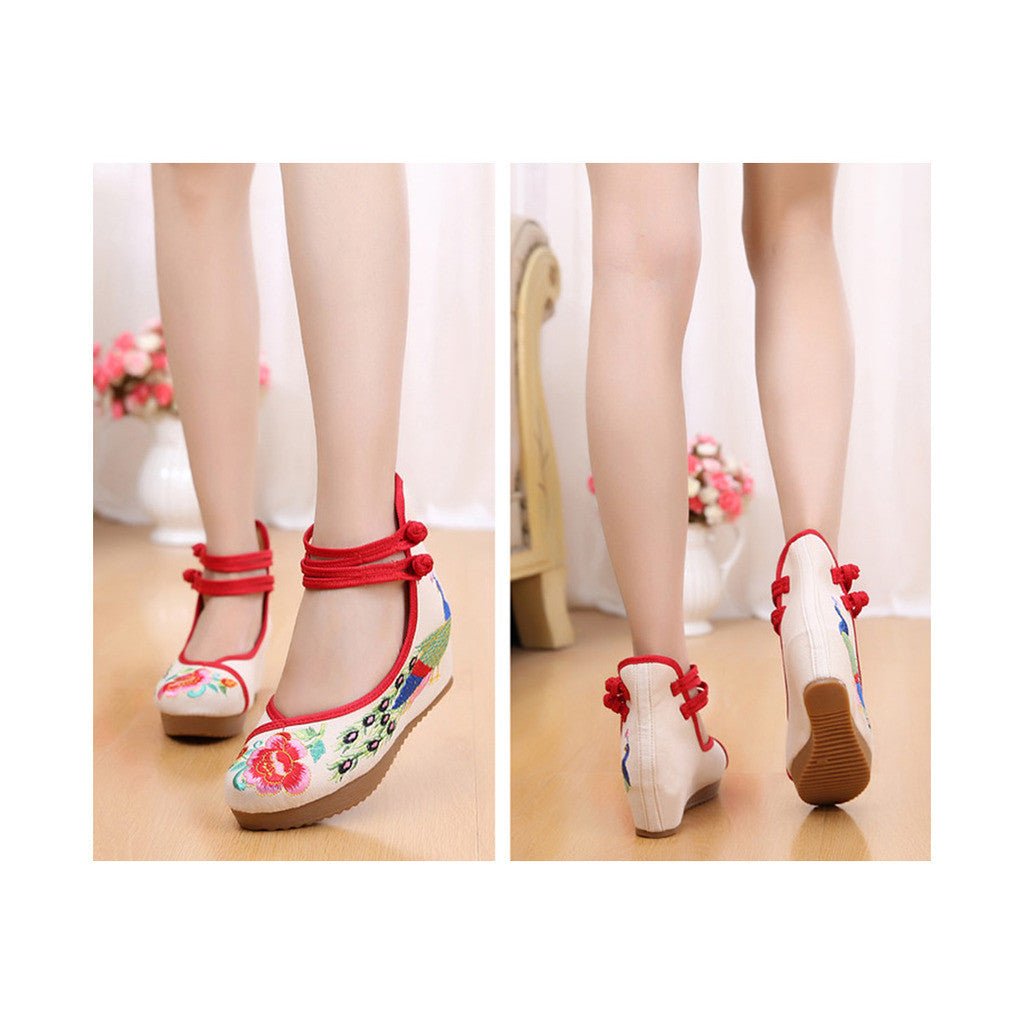 Old Beijing Cloth Shoes Embroidered Shoes High Heeled Shoes Woman National Style Slipsole Increased within  beige - Mega Save Wholesale & Retail - 3