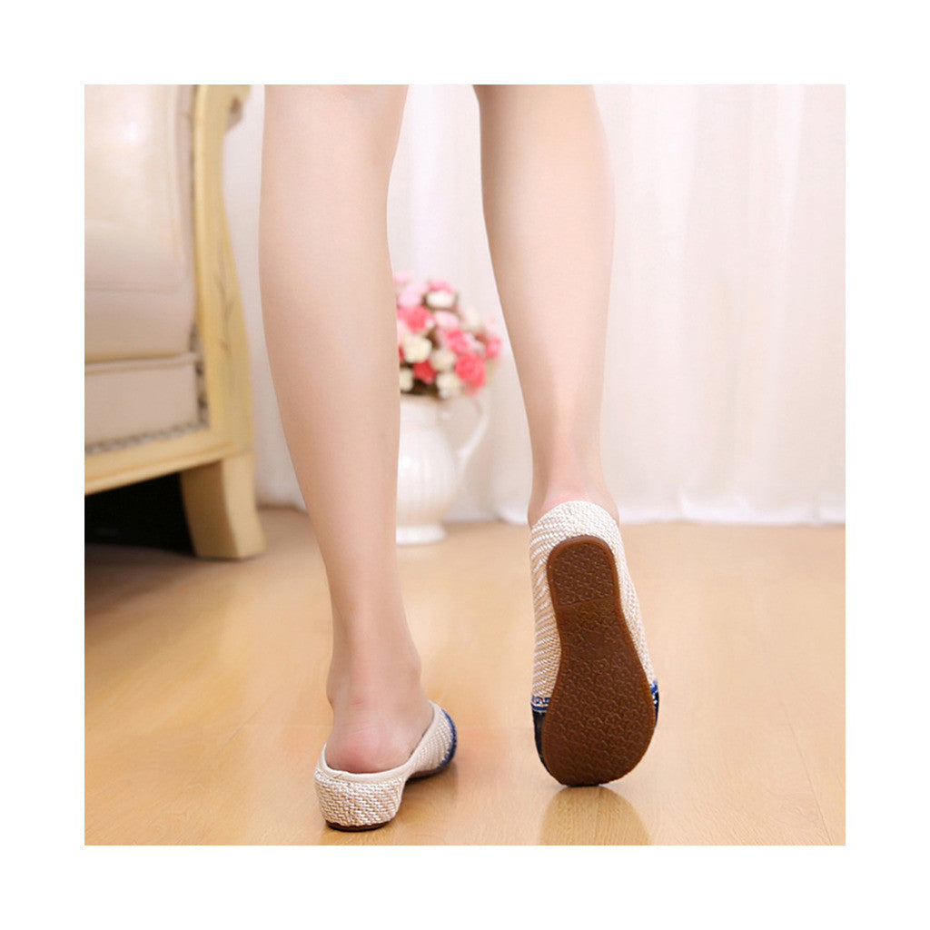 Old Beijing Cloth Shoes Flax Facial Makeup Slippers Embroidered Shoes Sandals Cowhell Sole Small Slipsole Woman Shoes National Style beige - Mega Save Wholesale & Retail - 3