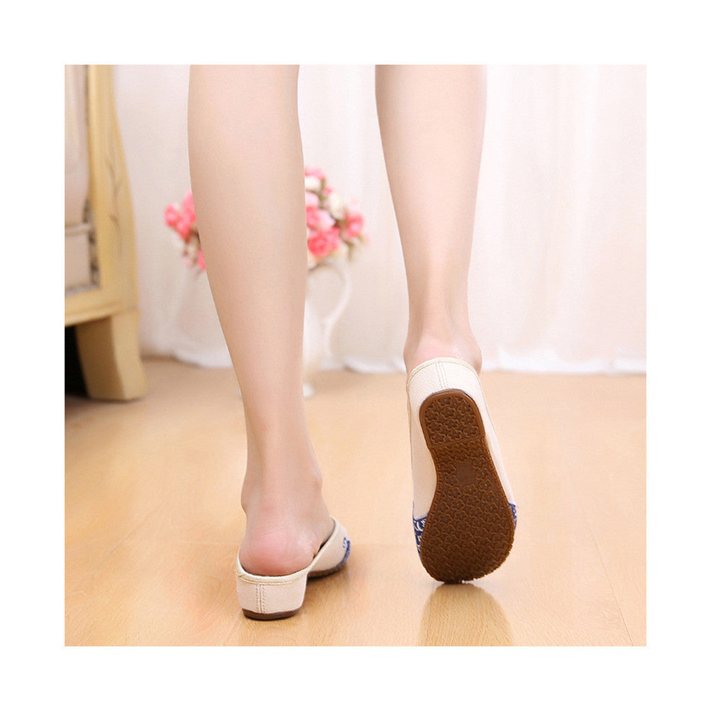 Old Beijing Cloth Shoes Slippers Embroidered Shoes Slipsole Sandals National Style  beige - Mega Save Wholesale & Retail - 3